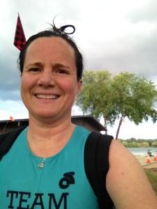 I'm on Team Endo, here I am at the lake for a practice swim!