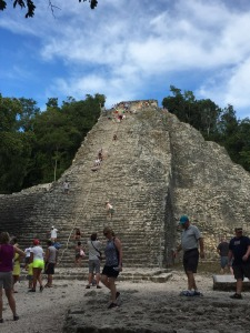 Coba! We all climbed to the top!