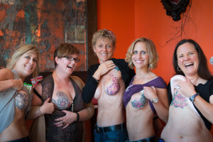 Amazing breast cancer survivor sisters on 10/10! Photo by Paul Nelson.