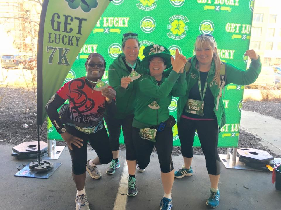 Tammy, Rhea, me (and my new green hat!) and Dana at the end of the 7K!!