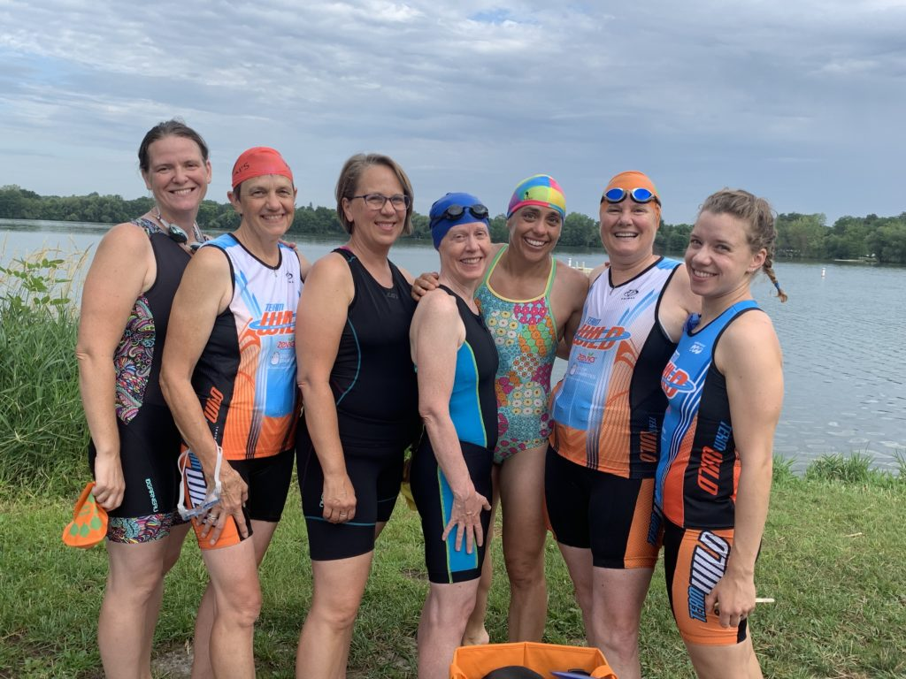 Seven of us who did the rehearsal triathlon on August 4, 2019
